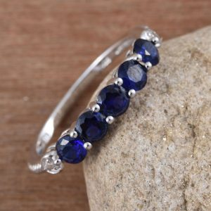 Lab created blue sapphire ring.