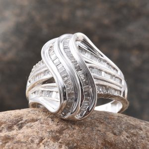 Designer diamond ring in sterling silver with platinum finish.