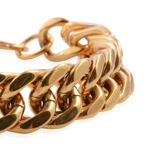 Close up of a stainless steel bracelet ion plated with yellow gold.
