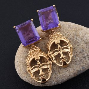 Goddess earrings in sterling silver with 14k yellow gold finish and alexite accents.