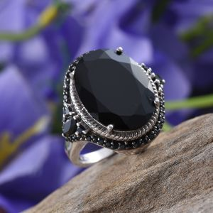 Black spinel cocktail ring in sterling silver.