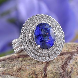 ILIANA Collection AAA tanzanite cluster statement ring in 18K white gold.