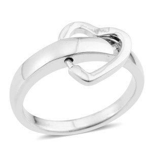 Minimalistic heart-shaped ring in sterling silver.