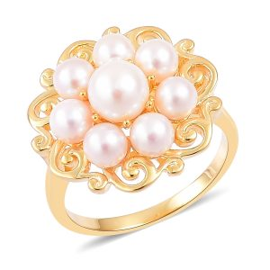Akoya pearl cluster ring in sterling silver with 14K yellow gold finish.
