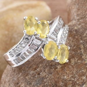 Canary opal bypass ring in sterling silver with platinum finish.