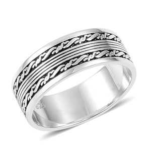 Sterling silver men's ring with barbwire motif.