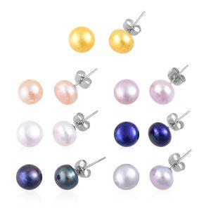 Multi-color freshwater pearl stud earrings.