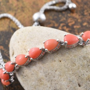 Oregon peach opal bracelet in sterling silver with platinum finish.