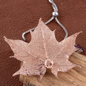 Maple leaf necklace coated with 24K rose gold.