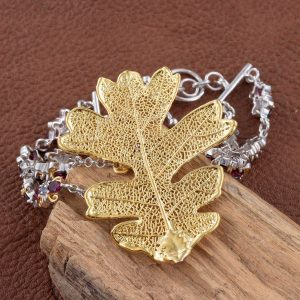 Oak leaf dipped in 24K yellow gold bracelet.