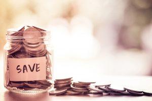Jar of money being saved.