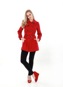 woman wearing red trench coat