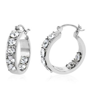 White zircon hoop earrings.