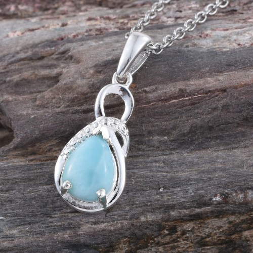 Larimar pendant in sterling silver.