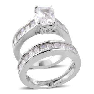 Cubic zirconia wedding ring set.