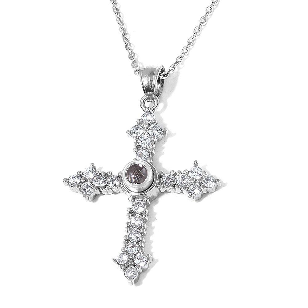 Closeup of cross jewelry.