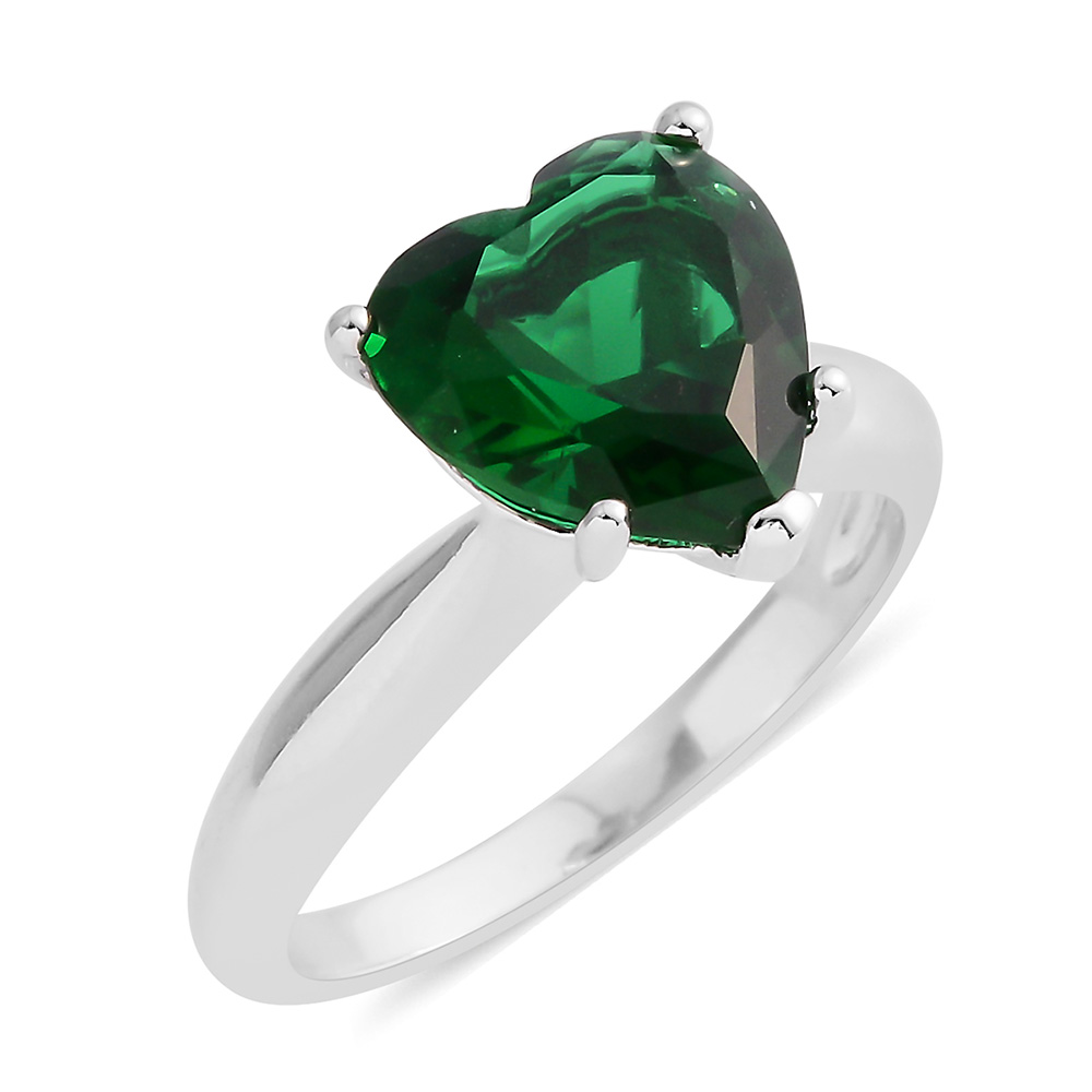 Green heart ring with plain band against white background.