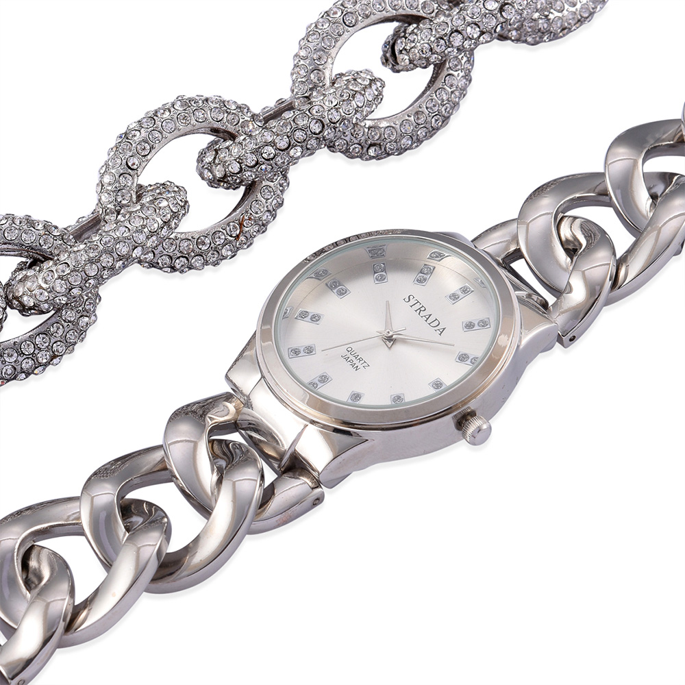 Closeup of silver STRADA watch with chain bracelet.