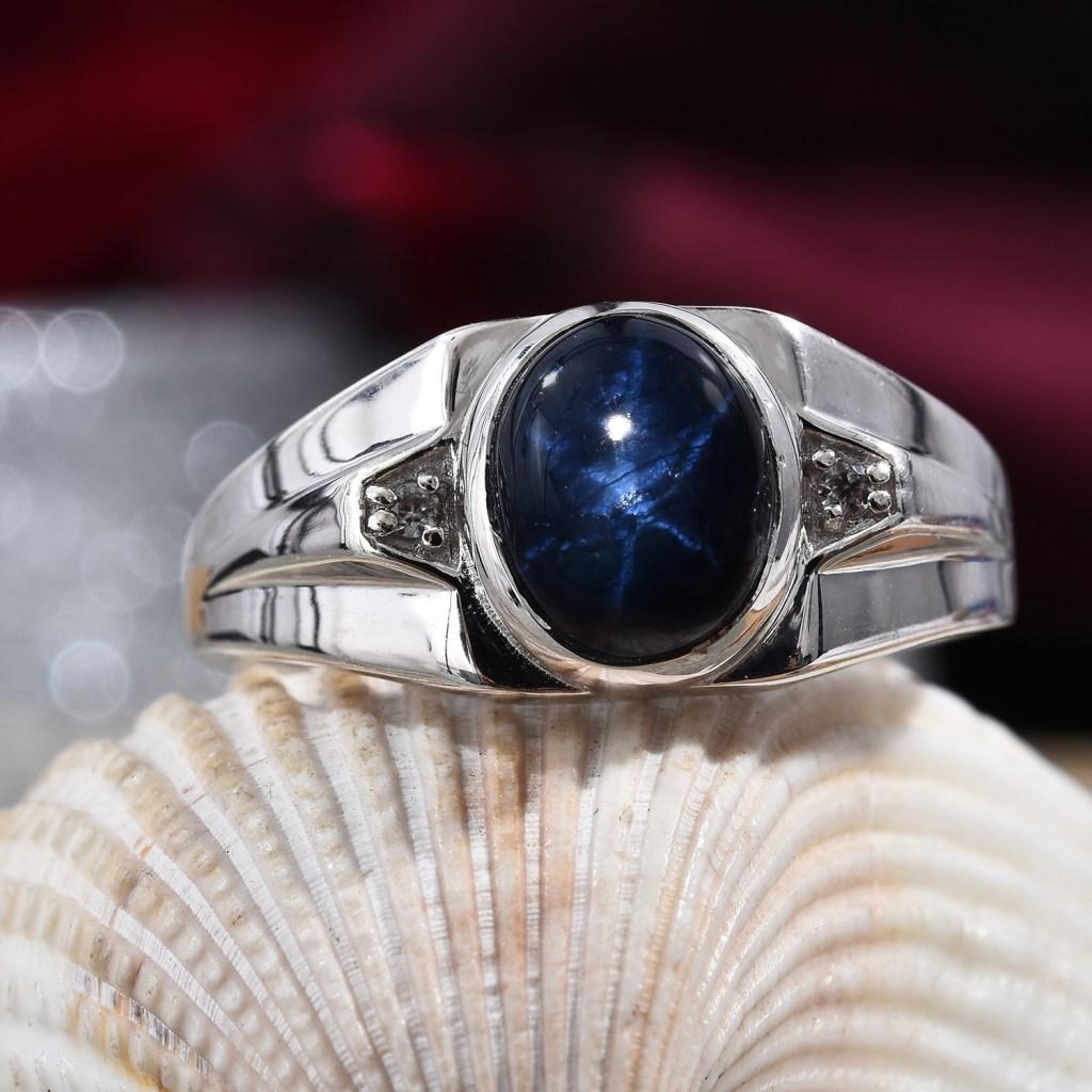 Men's star sapphire ring.