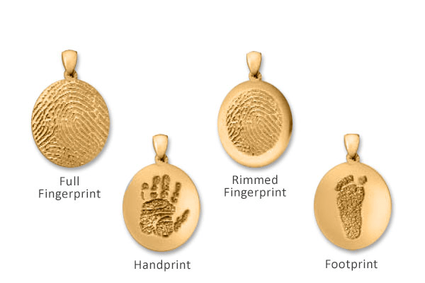 Matching golden pendants with fingerprints and handprints.