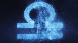 Libra sign in neon blue