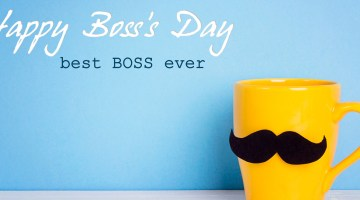 Yellow mug with mustache against baby blue background