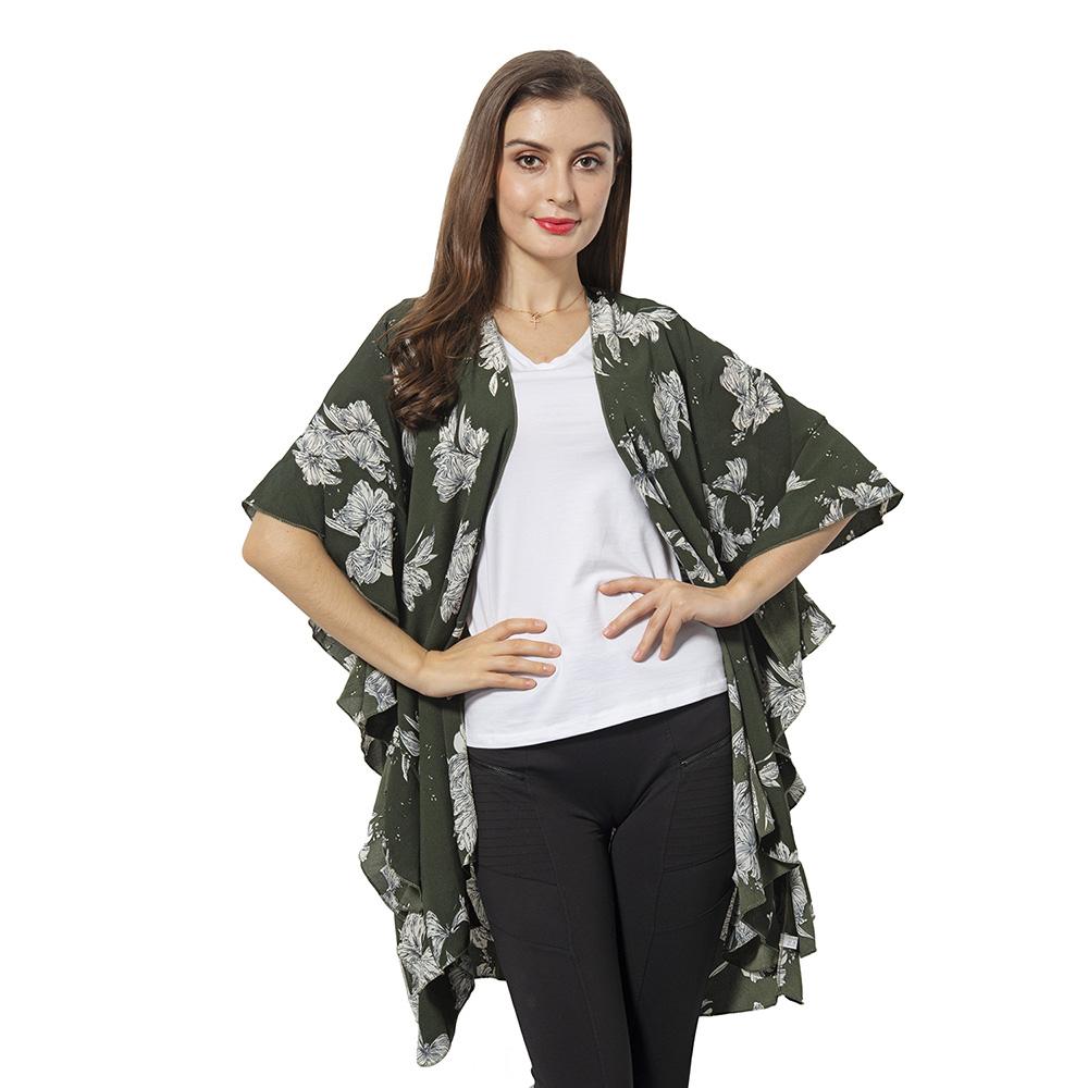 Green kimono with ruffles