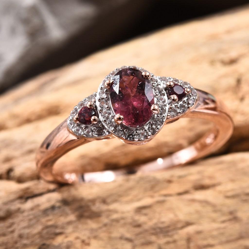 Pink tourmaline October birthstone ring.