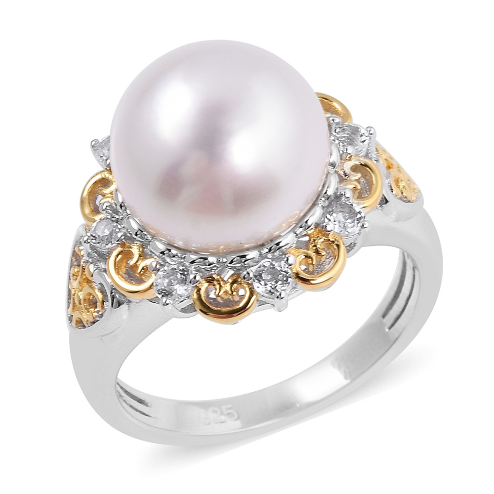 Pearl ring in floral setting
