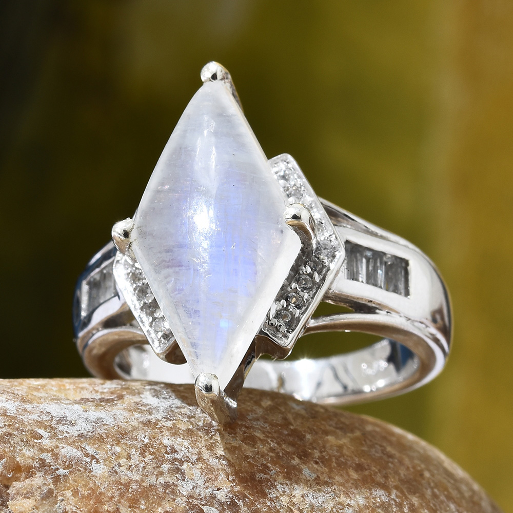 Closeup of diamond-shaped moonstone ring