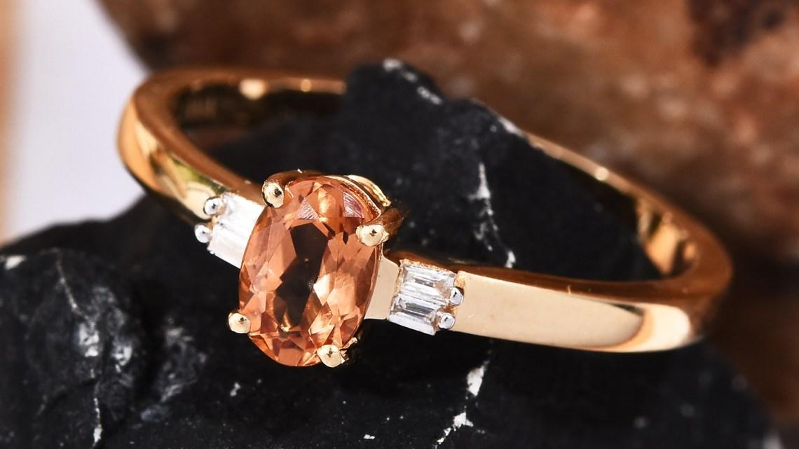 ILIANA AAA Premium Imperial Topaz, Diamond Accent Ring in 18K Yellow Gold
