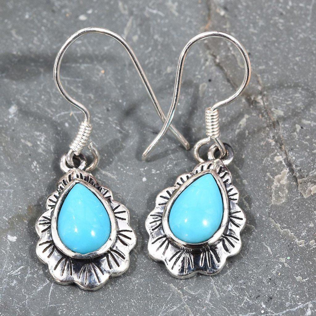 Arizona Sleeping Beauty Turquoise Dangle Earrings in Black Oxidized Sterling Silver