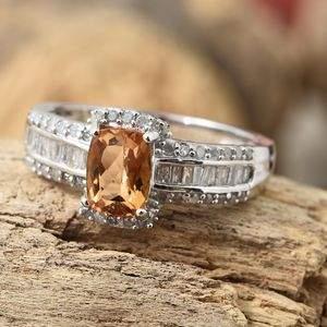 Orange imperial topaz ring in sterling silver.