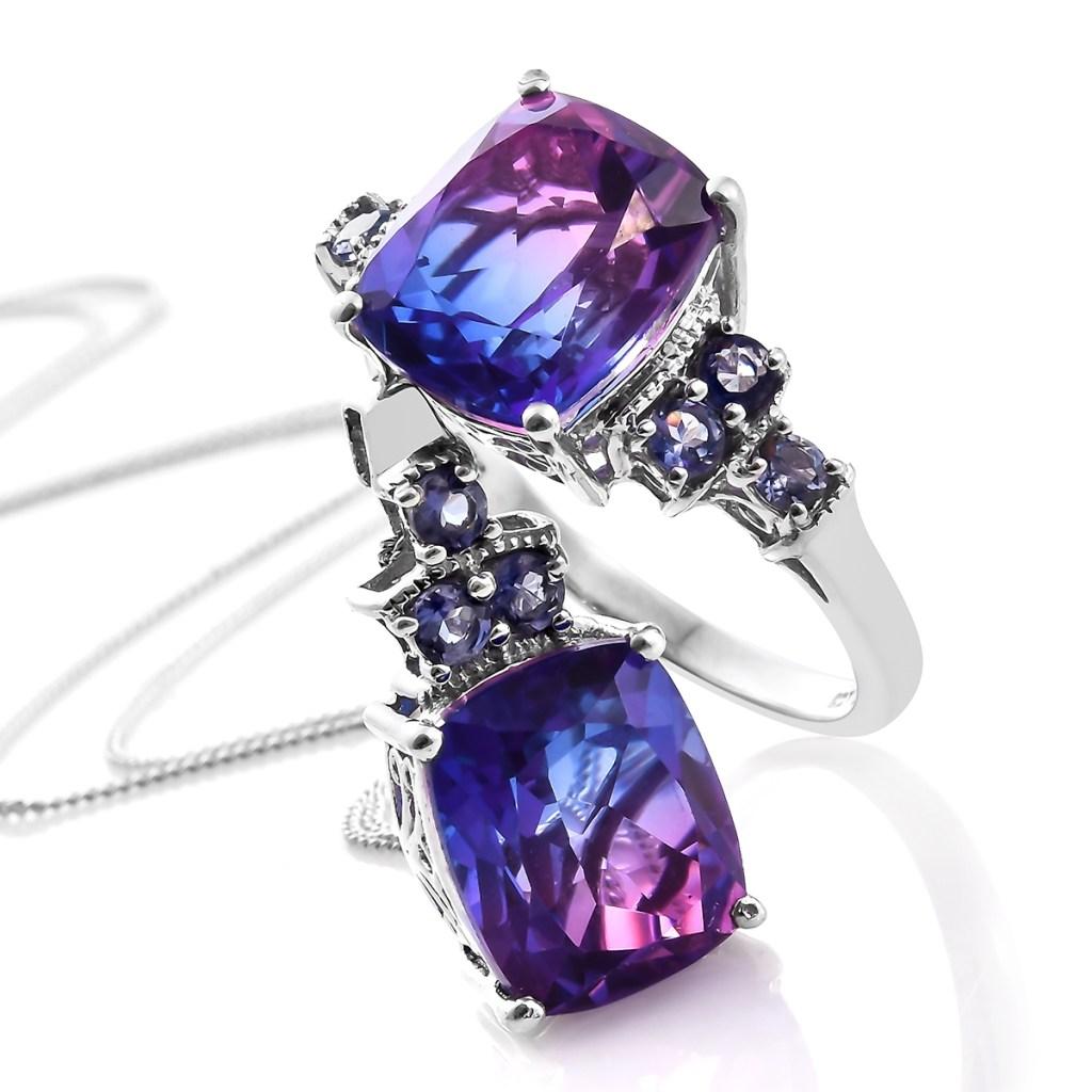 Midnight Fuschia Quartz ring and necklace