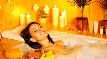 Woman relaxing in her homemade bubble bath
