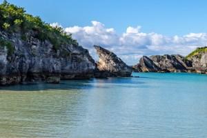 Bermuda coastline and calm seas.