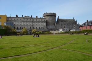 Dublin Castle shot from green lawn.