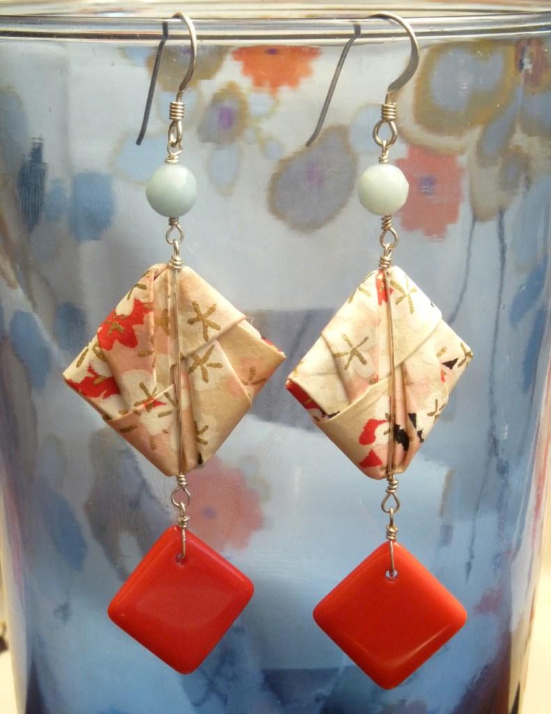 Handmade origami earrings.