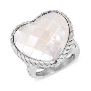 Heart-shaped mother-of-pearl ring.