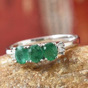Brazilian emerald three stone ring.