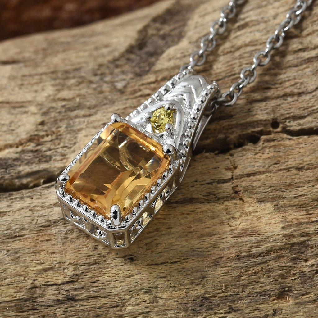 Brazilian Citrine, Simulated Yellow Diamond Pendant Necklace in Platinum Bond Brass and Stainless Steel