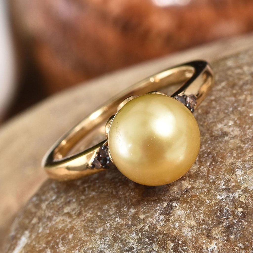 South Sea Golden Cultured Pearl and Natural Champagne Diamond Ring in Rhodium and Vermeil Yellow Gold Over Sterling Silver
