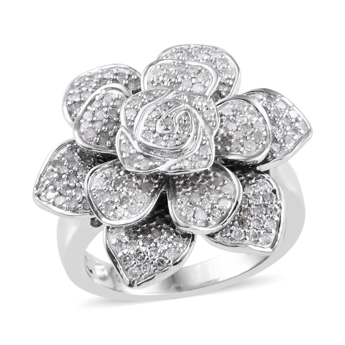 Floral diamond ring on white background.