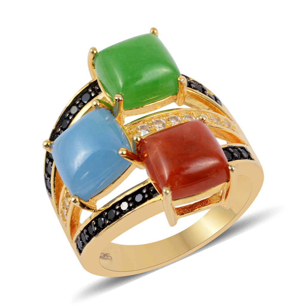 Green, red, and blue Burmese jade ring.