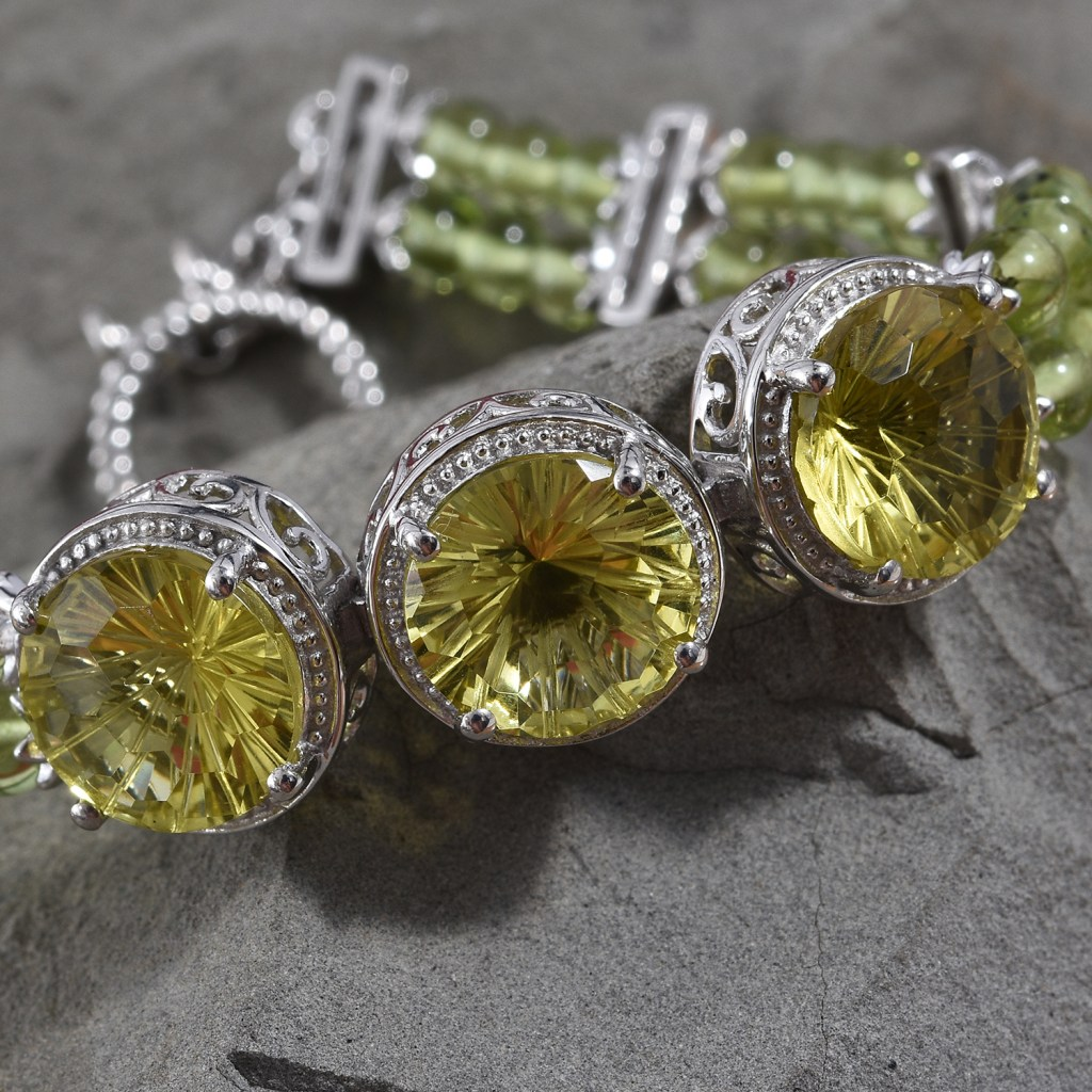 Green quartz bracelet with beehive cut gemstones.