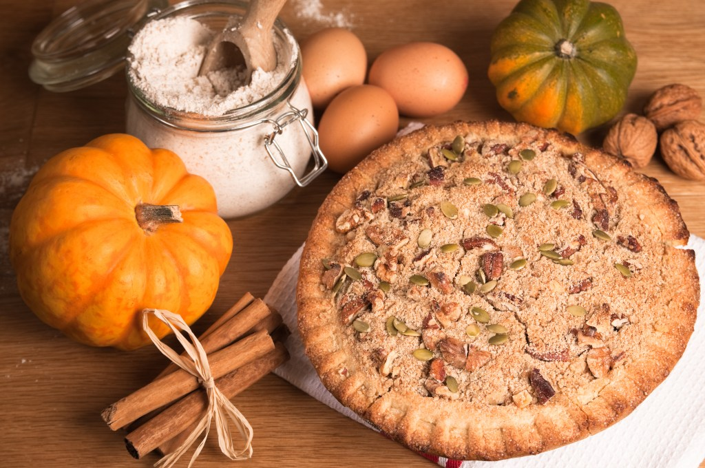A freshly baked pie and trappings of Fall.