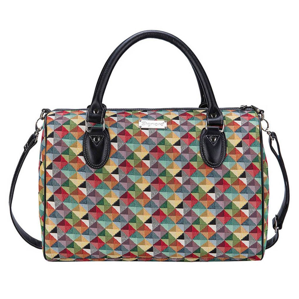 Signare triangle woven tapestry bag.