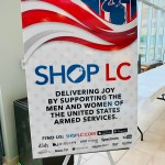 Sign indicating Shop LC support of veterans.