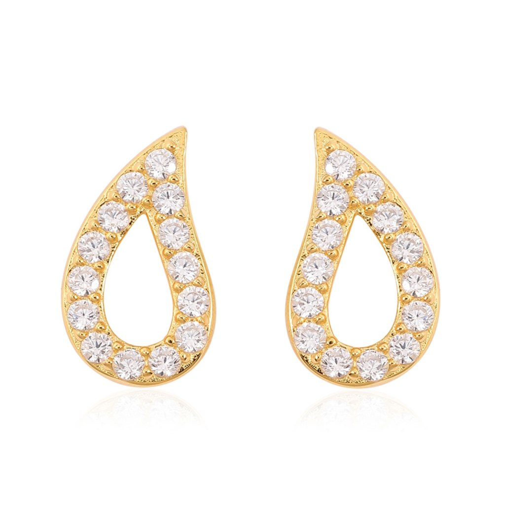 14k yellow gold raindrop earrings with simulated diamond accents.