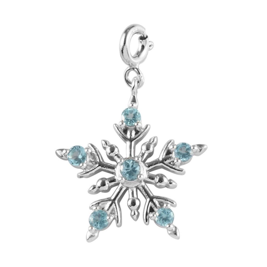 Sterling silver snowflake charm with blue gem accents.